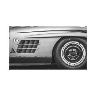 Vintage Gull Wing racing car in Black and White Canvas Print