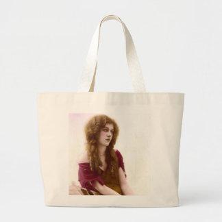 Vintage Gypsy Gal Color Tinted Photo in Purple Large Tote Bag