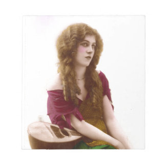 Vintage Gypsy Gal Color Tinted Photo in Purple Notepads