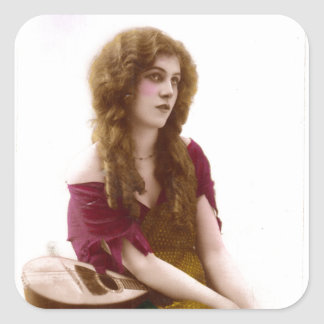 Vintage Gypsy Gal Color Tinted Photo in Purple Square Sticker