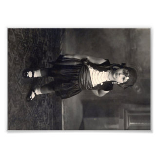 Vintage Gypsy Girl - old Black and White Photo