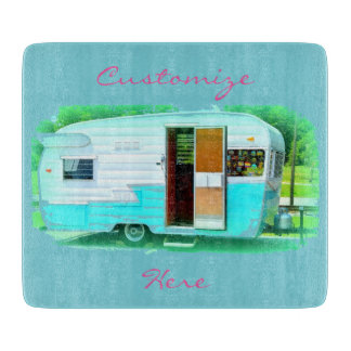 Vintage gypsy trailer Thunder_Cove On caravan Cutting Board