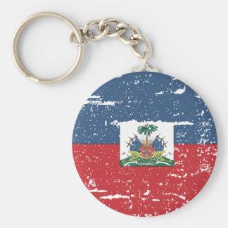 Vintage Haiti Flag Basic Round Button Keychain