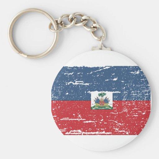 Vintage Haiti Flag Key Chain