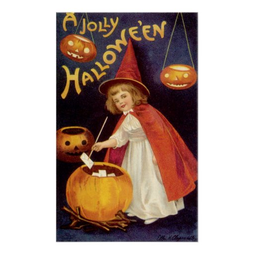 Vintage Halloween, A Cute Girl Witch with Letters Poster