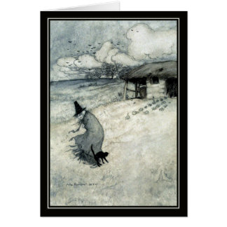 Vintage Halloween Arthur Rackham Witch + Black Cat Card