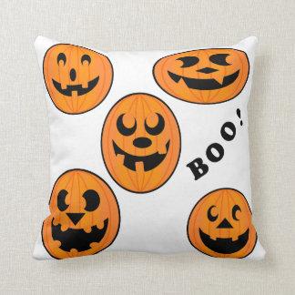 Vintage Halloween Black and Orange Bold Pumpkin Throw Pillow