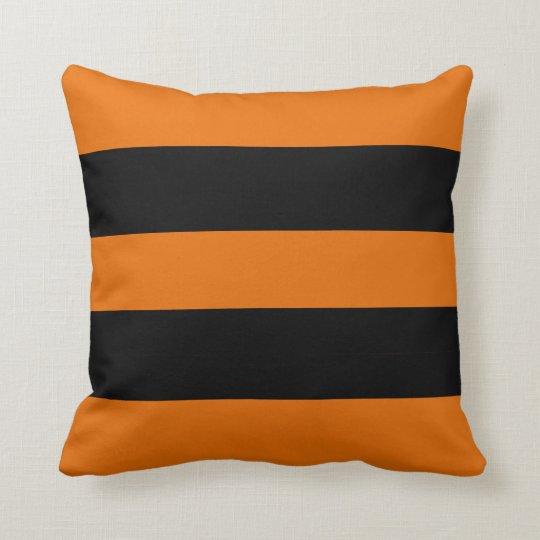 Vintage Halloween Black and Orange Bold Stripe Throw Pillow