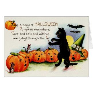 Vintage Halloween, Black Cat, Pumpkins Card