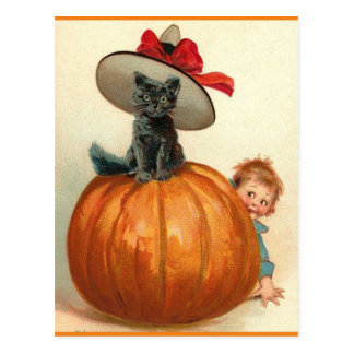 Vintage Halloween Black Cat Witch Hat Pumpkin Baby Postcard
