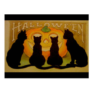 Vintage Halloween Black Cats and Jack O'Lantern Postcard
