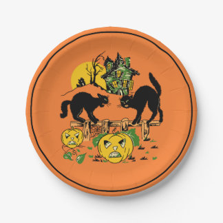Vintage Halloween Black Cats & Haunted House 7 Inch Paper Plate