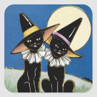 Vintage Halloween black cats Holiday sticker