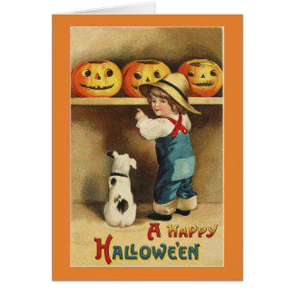 Vintage Halloween Boy Card