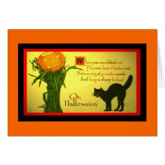 Vintage Halloween card Pumpkin Spell