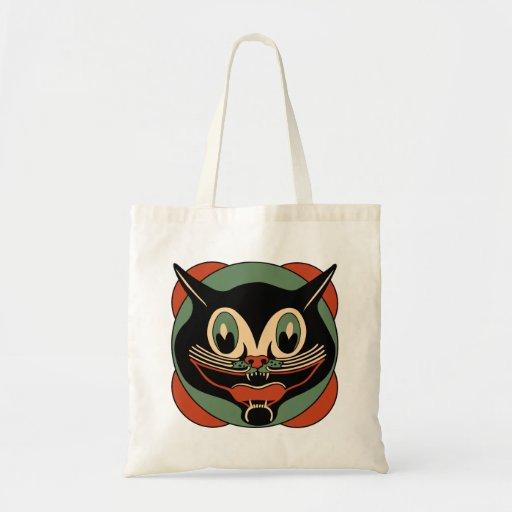 Vintage Halloween Cat Grocery Tote Bag