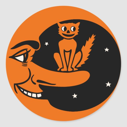 Vintage Halloween - Cat in the Moon Classic Round Sticker