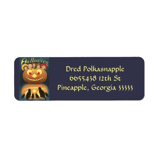Vintage Halloween Cats Pumpkin People Blue Orange Return Address Label