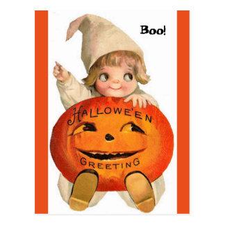 Vintage Halloween Child & Pumpkin Postcard