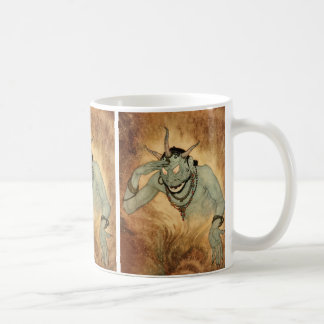 Vintage Halloween, Creepy Demon Monster with Horns Coffee Mug
