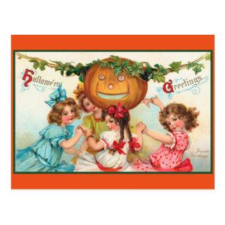 Vintage Halloween Dancers Postcard
