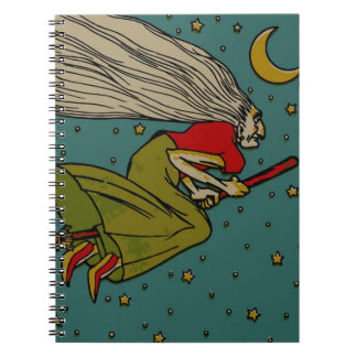 Vintage Halloween, Evil Witch Flying on Broomstick Note Book
