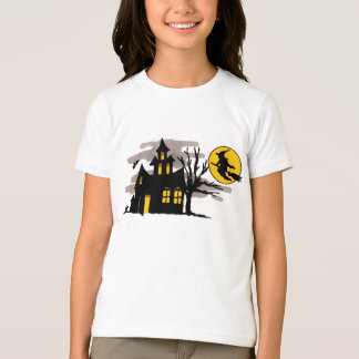 Vintage Halloween Flying over Haunted House T-Shirt