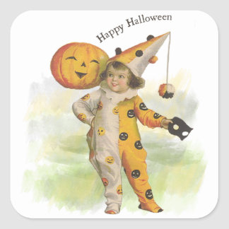 Vintage Halloween Girl and Jack O Lantern Stickers