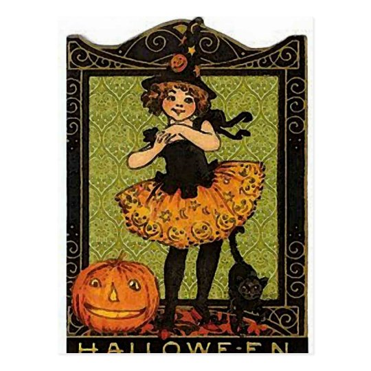 Vintage Halloween Girl Postcard