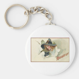 Vintage Halloween Greeting Cards Classic Posters Basic Round Button Keychain