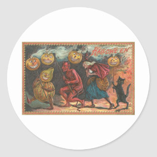 Vintage Halloween Greeting Cards Classic Posters Round Sticker