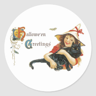 Vintage Halloween Greetings Classic Round Sticker
