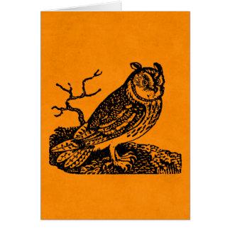 Vintage Halloween Horned Owl Orange Owls Card