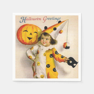 Vintage Halloween kid and pumpkin party napkins Disposable Napkins