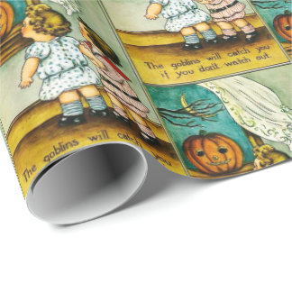 Vintage Halloween kids pumpkin party wrap Wrapping Paper