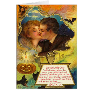 Vintage Halloween Kiss Card