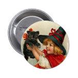 Vintage Halloween Little Witch Holding Black Cat 2 Inch Round Button