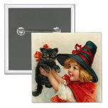 Vintage Halloween Little Witch Holding Black Cat 2 Inch Square Button