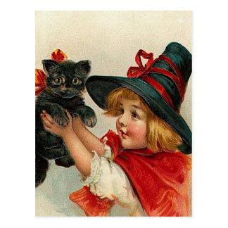Vintage Halloween Little Witch Holding Black Cat Postcard