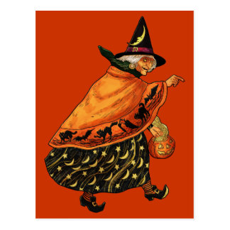 Vintage Halloween Old Witch Postcard