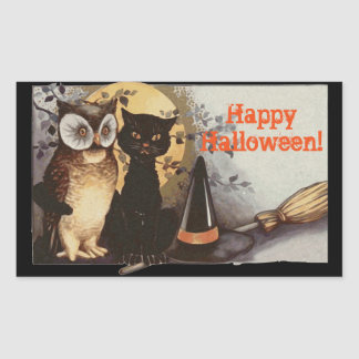 Vintage Halloween Owl and Black Cat at Night
