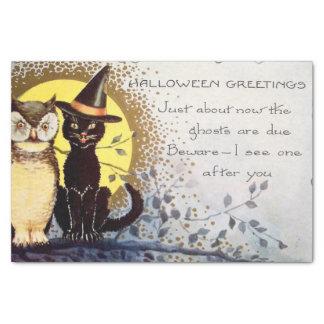 Vintage Halloween owl black cat party tissue Tissue Paper