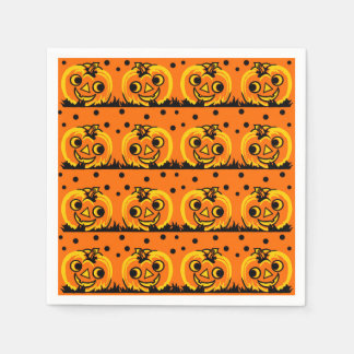 Vintage Halloween Party Napkin with Pumpkins Paper Napkins
