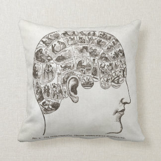 Vintage Halloween pillow phrenology head & brain