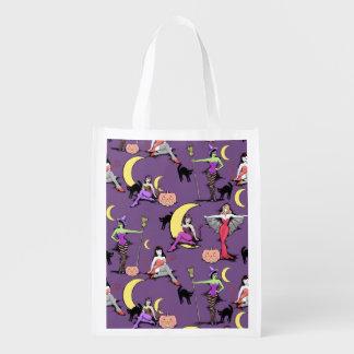 Vintage Halloween pinups reusable grocery or gift Reusable Grocery Bag