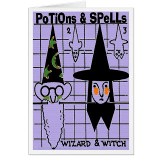 VINTAGE HALLOWE'EN POTIONS & SPELLS  GREETING CARD