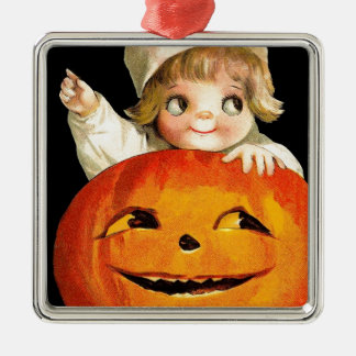 Vintage Halloween Pumpkin and Cute Girl Gift Item Metal Ornament