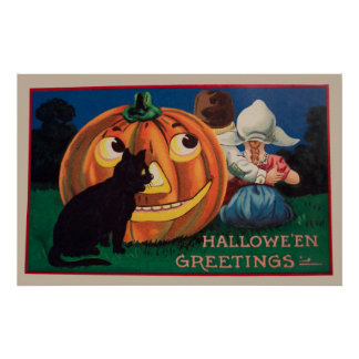 Vintage Halloween pumpkin and kids party poster