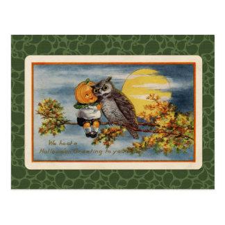 Vintage Halloween Pumpkin Boy and Owl Postcard