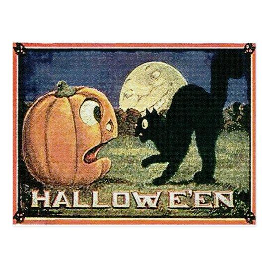 Vintage Halloween Pumpkin  & Cat in Mosaic Postcard